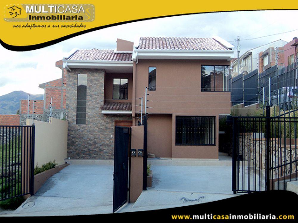 Venta a crédito de Hermosa Casa por Estrenar, Garaje dos Vehículos, Espacio Verde Sector El Tejar Cuenca-Ecuador