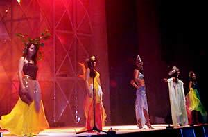 Elección Reina de Cuenca 2003 .- Las hermosas candidatas luciendo atuendos que representan los elementos de la naturaleza como la tierra, aire, agua y fuego, que armonizan con su belleza.