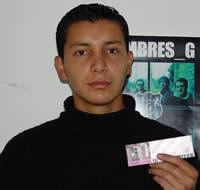 Ganador de una entrada al concierto de Hombres G .- Cristian Xavier Arce Auquilla participó y ganó una entrada al concierto de Hombres G en Cuenca