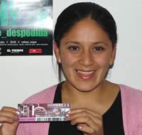 Ganadora de una entrada al concierto de Hombres G .- Mary Elena Chica Ochoa participó y ganó una entrada al concierto de Hombres G en Cuenca