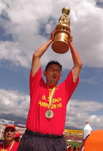 Deportivo Cuenca Campeón Temporada 2004 .- Jonny Pérez Rivera defensa del Club durante la temporada 2004