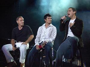 Concierto Franco de Vita en Cuenca .- Franco de Vita junto a Jeremías y Juan Fernando Velasco