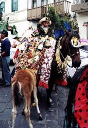 Pase del Niño Viajero .- Con toda seguridad la fiesta Cuencana de mayor atractivo para quienes visitan la ciudad durante el mes de diciembre, son los alegres y coloridos pases del niño que son procesiones para venerar a la escultura del Niño Dios.