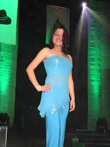 Elección de la Reina del Azuay 2005 .- Valeria Patricia Orellana representante de Gualaceo en su presentación en Traje Casual