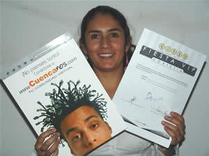 Ganadores de Entradas a la Fiesta Vip de la Universidad del Azuay .- Sonia Natalia Perez Solíz participo y ganó una entrada a la Fiesta Vip Organizada por la Facultad de Ciencias de Administración de la Universidad del Azuay