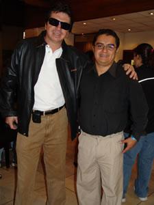 Pablo Milanes en Cuenca .- Andrés Valencia Gerente General de ProSonido junto al Ing. Enrique Rodas, Gerente General de Cuencanos.com