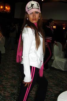 Candidatas a Miss Ecuador 2006 .- Jessica Bajaña durante los ensayos de coreografía para el evento Miss Ecuador 2006