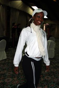 Candidatas a Miss Ecuador 2006 .- Karla Caicedo durante los ensayos de coreografía para el evento Miss Ecuador 2006