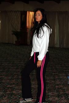 Candidatas a Miss Ecuador 2006 .- Katty López durante los ensayos de coreografía para el evento Miss Ecuador 2006
