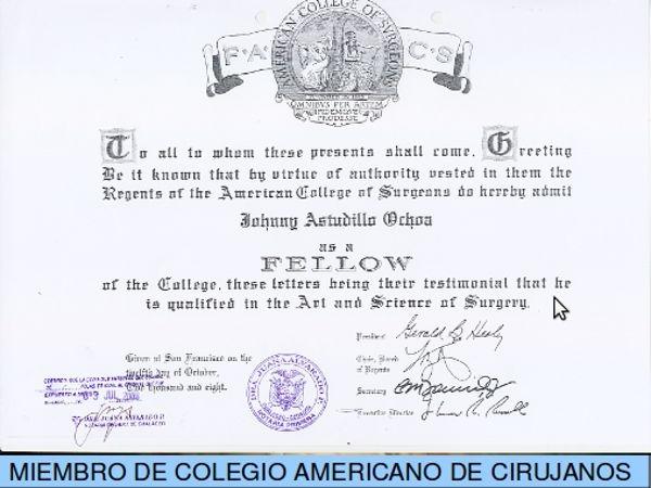Dr. Johnny   Astudillo    Cirujana Laparoscópica